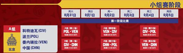 2019中國男籃世界杯中國隊賽程