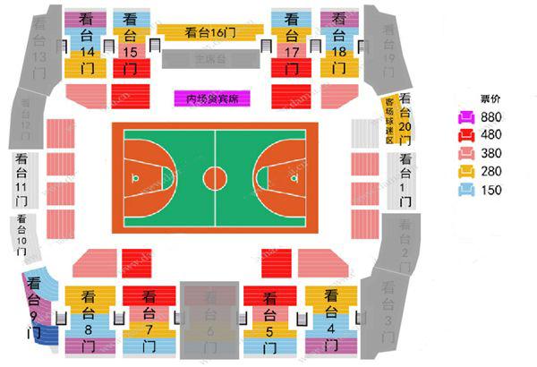 2019-2020赛季CBA联赛北京农商银行/北控男篮主场门票座位图