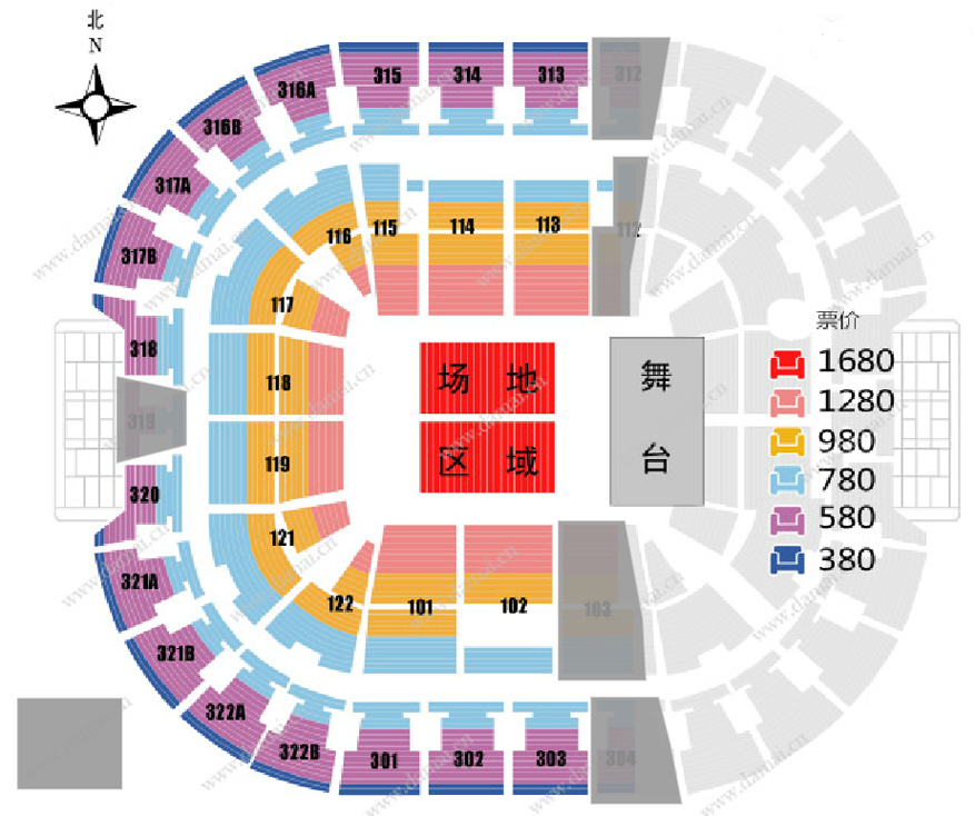 """萧敬腾""""娱乐先生""""巡回演唱会北京站座位图"""