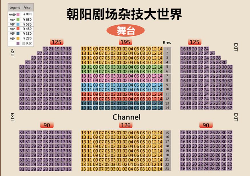 朝阳剧场杂技大世界座位图
