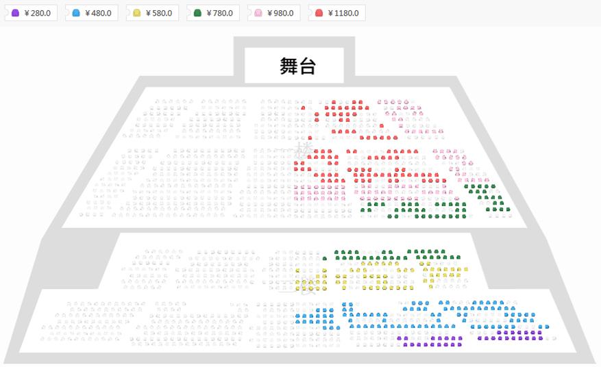 法語音樂劇《搖滾紅與黑》座位圖